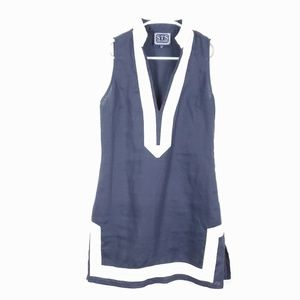 SAIL to SABLE 100% Linen The Classic Navy Dress 0